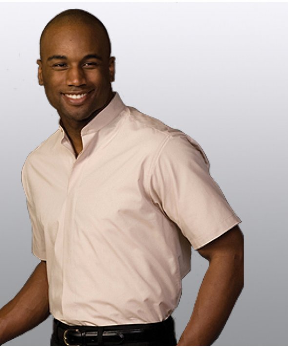 Edwards Garment 1346 Men's Banded Collar Shirts (Short Sleeve)