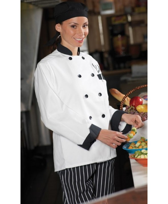 Edwards Garment 3303 Ten Black Button Chef Coat/Black Trim