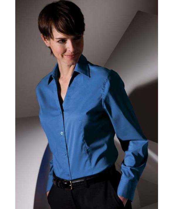 Edwards Garment 5034 Women's V-Neck Stretch Broadcloth Blouse