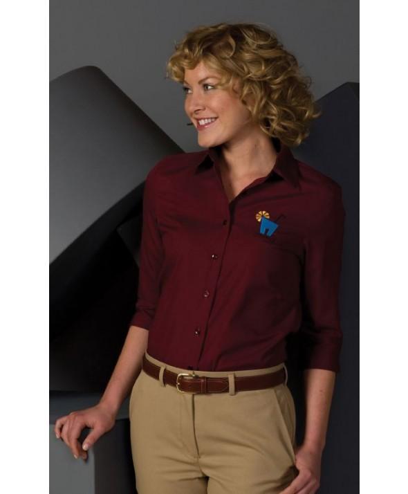 "Edwards Garment 5037 Women's Poplin Capri Blouse (3/4"" Sleeve)"