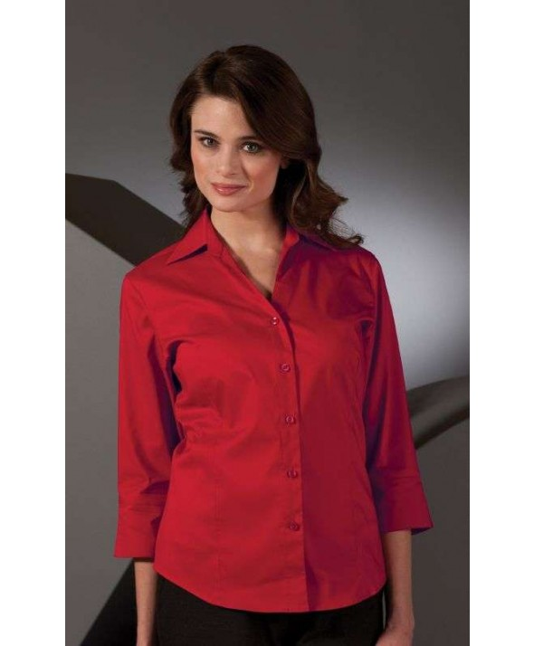 Edwards Garment 5045 Women's V-Neck 3/4 Sleeve Stretch Broadcloth Blouse