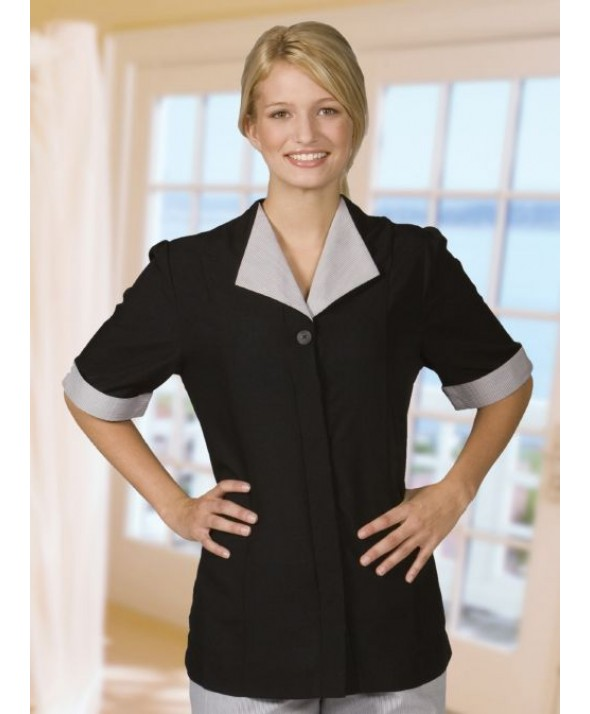 Edwards Garment 7276 Women's Solid Black Housekeeping Tunic
