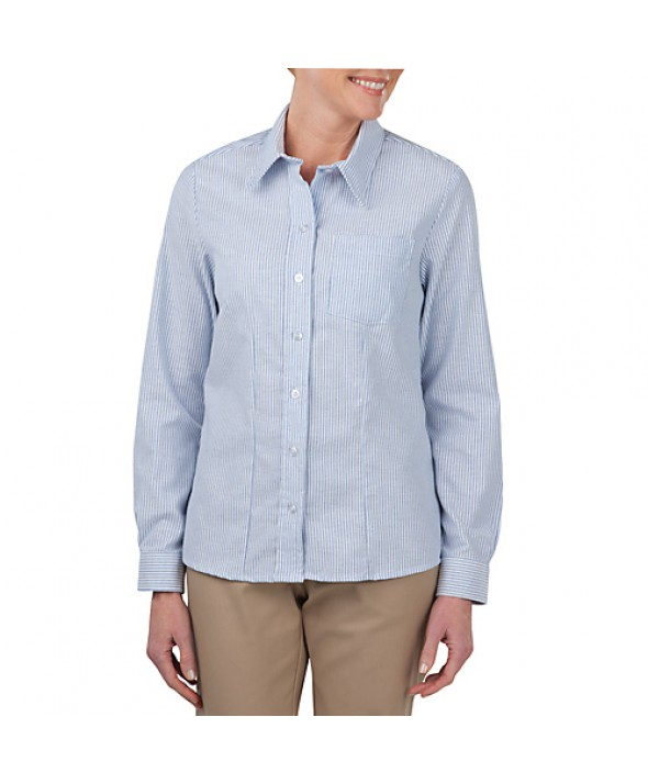Dickies industrial women's shirts FL254BS - White/blue Stripe