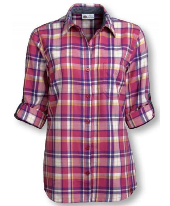 Dickies women's shirts FS091PVT - Plaid Velvet Punch/petunia