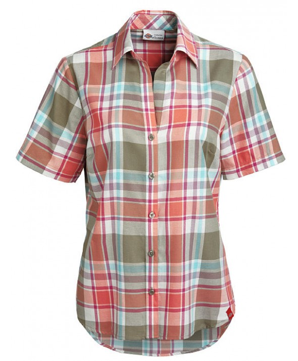Dickies women's shirts FS093PIF - Plaid Imperial Green/coral Fus