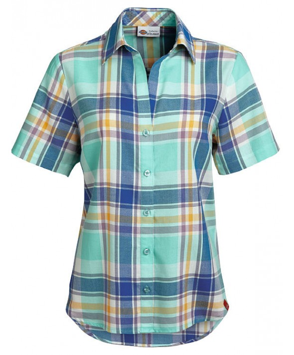Dickies women's shirts FS093POE - Plaid Dusky Orchid/royal Blue