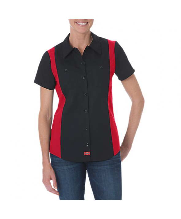 Dickies women's shirts FS524BKER - Black/english Red