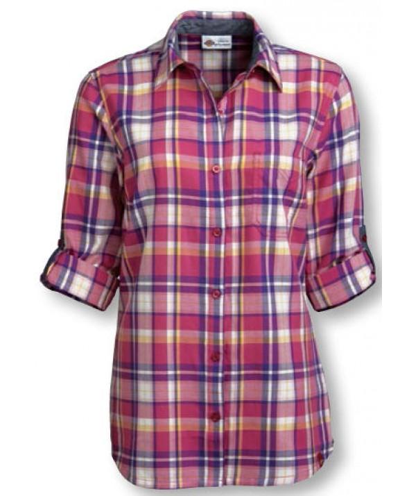 Dickies women's shirts FSW091PVT - Plaid Velvet Punch/petunia