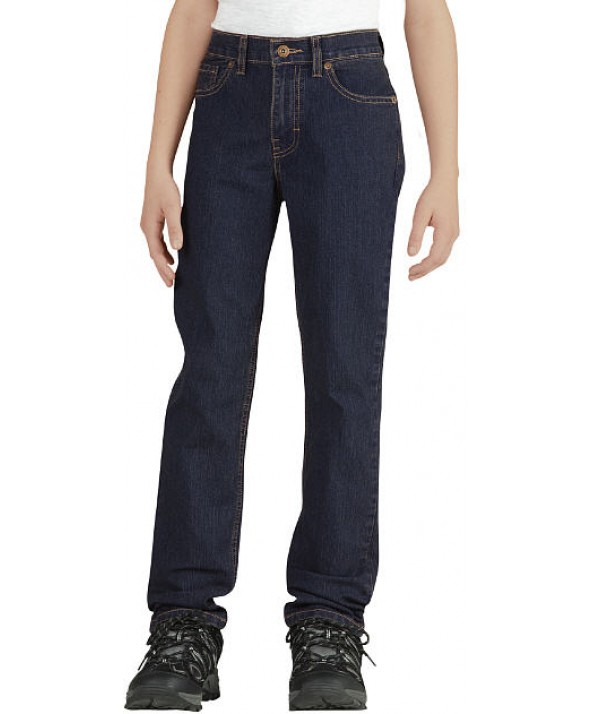 Dickies boy's pants KD3810RIT - Rinsed Indigo Blue With Tint