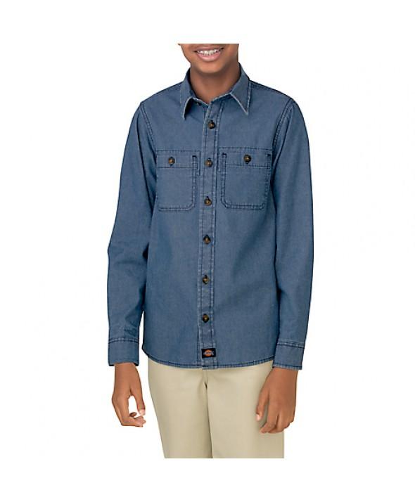 Dickies boy's shirts KL202RLI - Rinsed Light Indigo Chambray