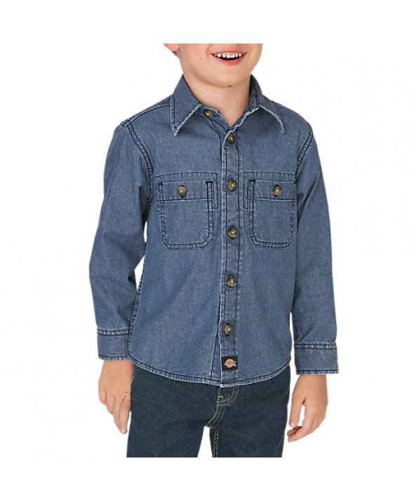 Dickies boy's shirts KL2202RLI - Rinsed Light Indigo Chambray
