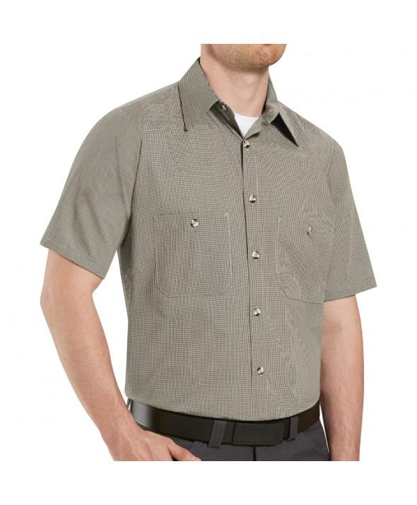 Red Kap SP24DN Mens Geometric MicroCheck Work Shirt - Denim Blue Microcheck