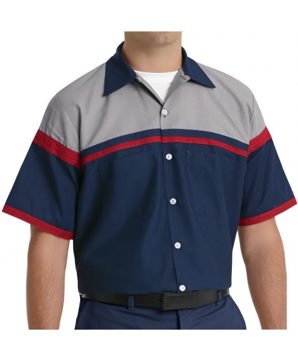 Red Kap SP24AC Performance Tech Shirt - Navy / Red / Light Grey
