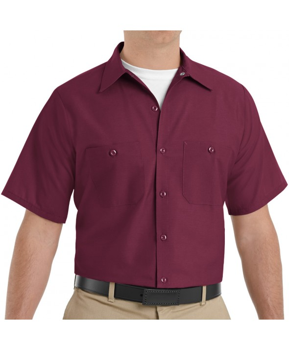 Red Kap SP24BY Mens Industrial Work Shirt - Burgundy