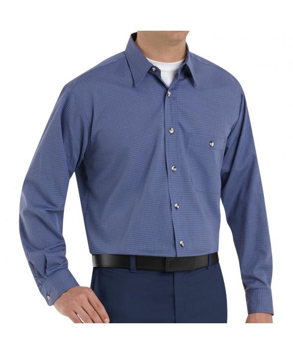 Red Kap SP74GB Mens MiniPlaid Uniform Shirt - Grey / Blue
