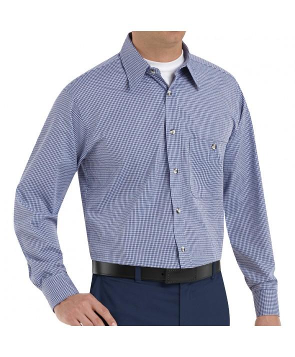 Red Kap SP74WB Mens MiniPlaid Uniform Shirt - White / Blue