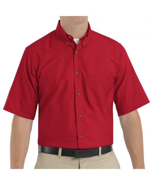 Red Kap SP80RD Mens Poplin Dress Shirt - Red