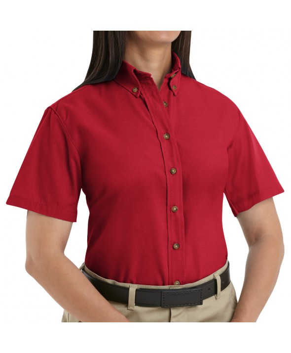 Red Kap SP81RD Womens Poplin Dress Shirt - Red