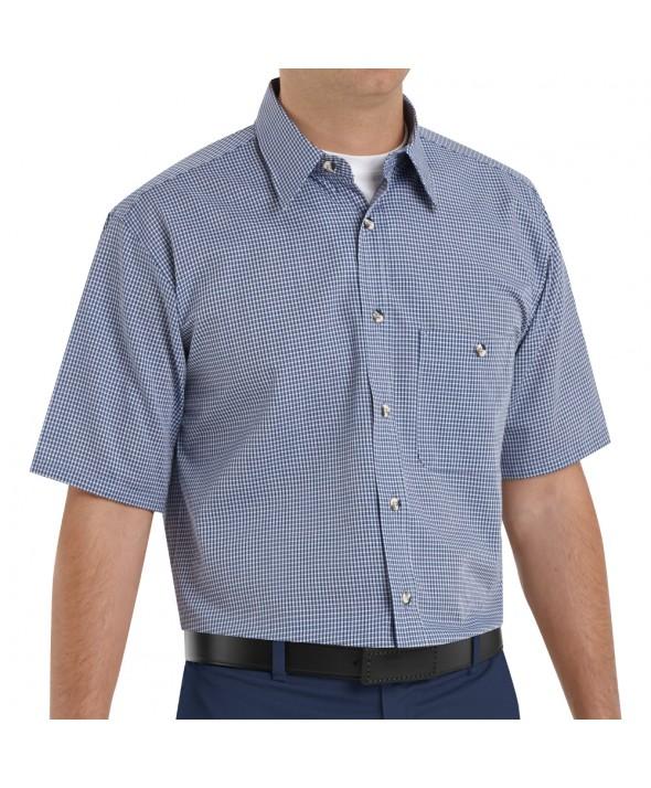 Red Kap SP84WB Mens MiniPlaid Uniform Shirt - White / Blue