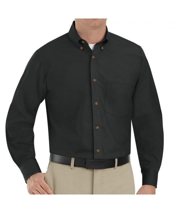 Red Kap SP90BK Mens Poplin Dress Shirt - Black