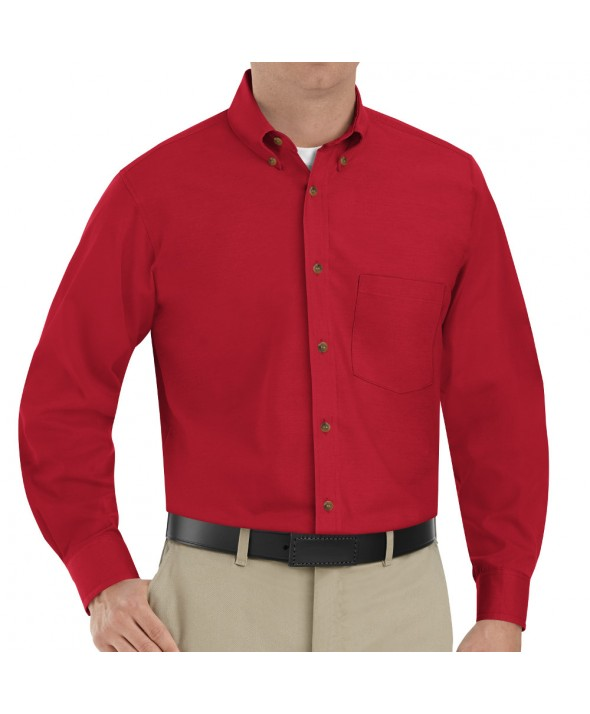 Red Kap SP90RD Mens Poplin Dress Shirt - Red