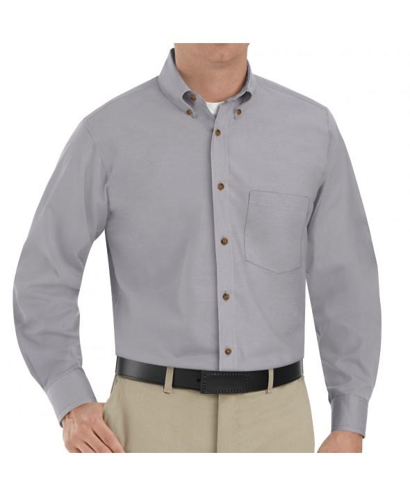 Red Kap SP90SV Mens Poplin Dress Shirt - Silver Grey