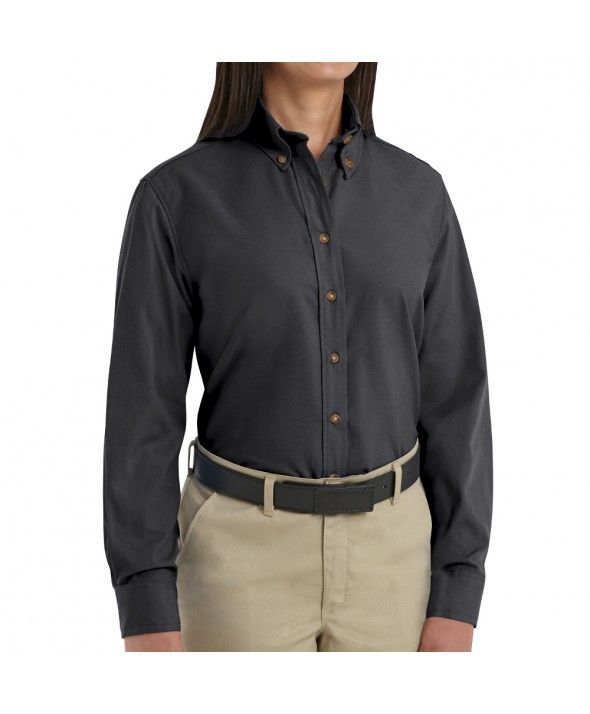 Red Kap SP91BK Womens Poplin Dress Shirt - Black