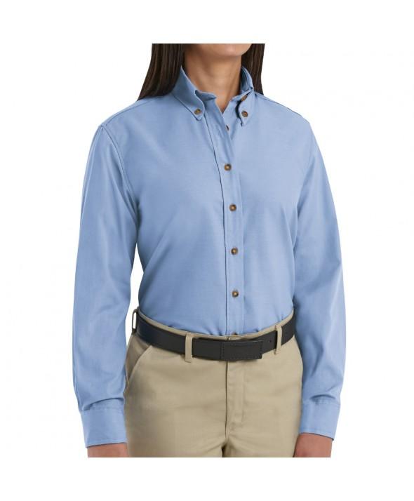 Red Kap SP91LB Womens Poplin Dress Shirt - Light Blue