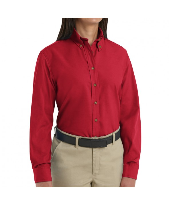 Red Kap SP91RD Womens Poplin Dress Shirt - Red