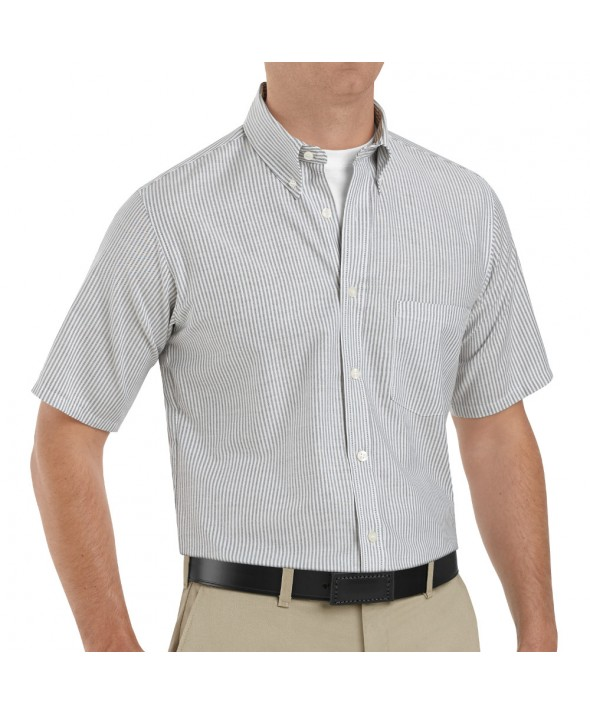 Red Kap SR60GS Mens Executive Oxford Dress Shirt - Grey / White Stripe