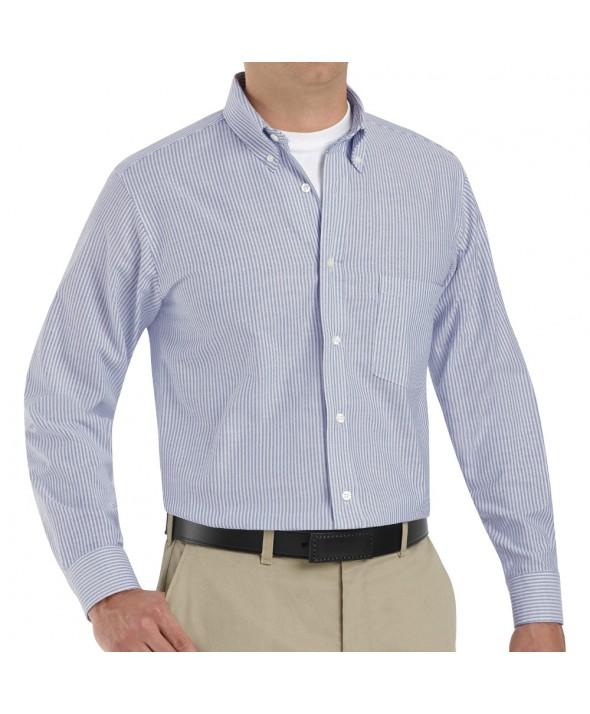 Red Kap SR70BS Mens Executive Oxford Dress Shirt - Blue / White Stripe