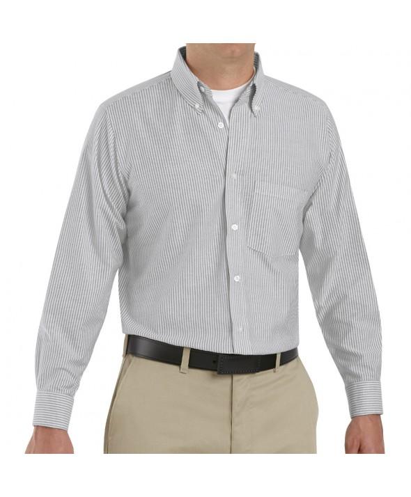 Red Kap SR70GS Mens Executive Oxford Dress Shirt - Grey / White Stripe