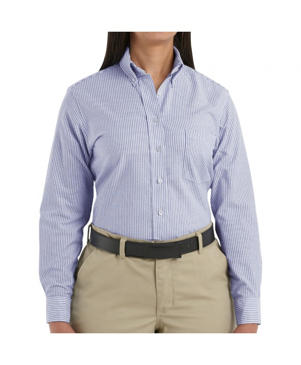 Red Kap SR71BS Womens Executive Oxford Dress Shirt - Blue / White Stripe