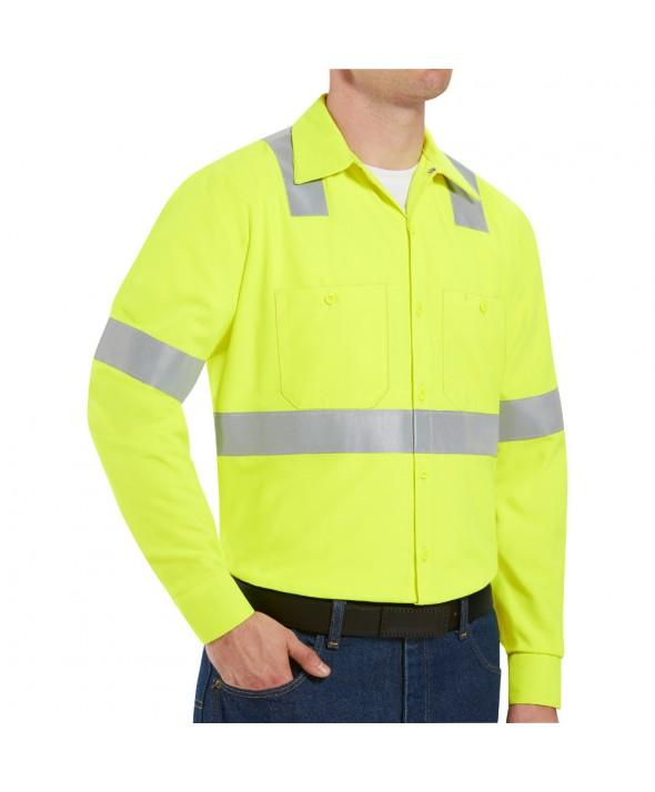 Red Kap SS14HV HiVisibility Work Shirt Class 2 Level 2 - Fluorescent Yellow / Green
