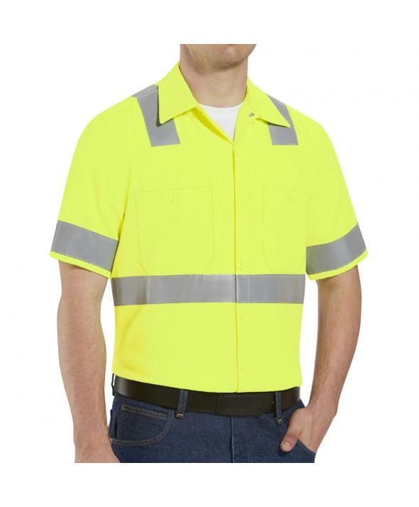 Red Kap SS24HV HiVisibility Work Shirt Class 2 Level 2 - Fluorescent Yellow / Green