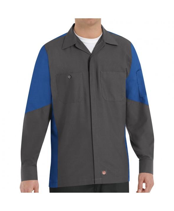 Red Kap SY10CR Crew Shirt - Charcoal / Royal Blue