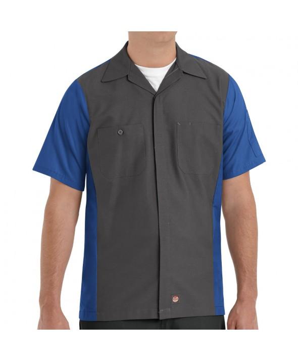 Red Kap SY20CR Crew Shirt - Charcoal / Royal Blue