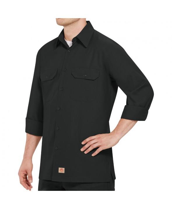 Red Kap SY50BK Mens Solid Rip Stop Shirt - Black
