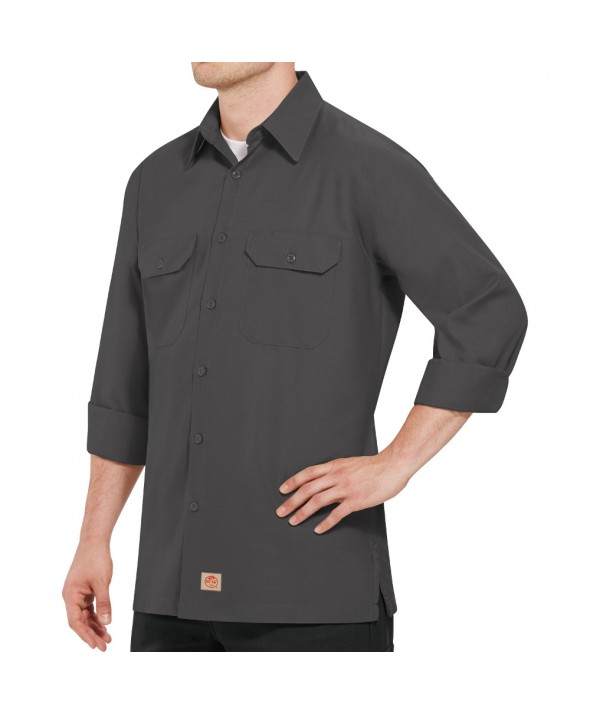 Red Kap SY50CH Mens Solid Rip Stop Shirt - Charcoal
