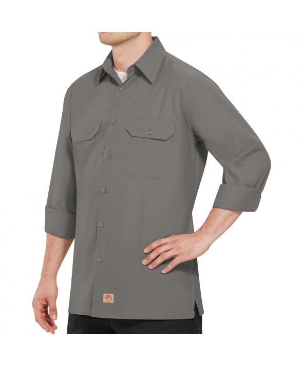 Red Kap SY50GY Mens Solid Rip Stop Shirt - Grey