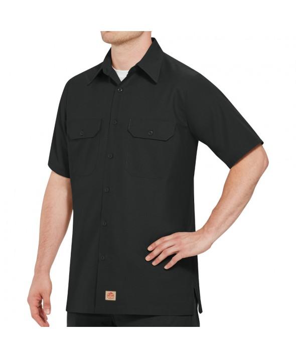 Red Kap SY60BK Mens Solid Rip Stop Shirt - Black