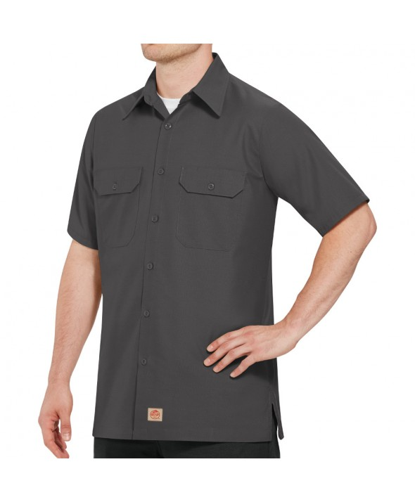 Red Kap SY60CH Mens Solid Rip Stop Shirt - Charcoal