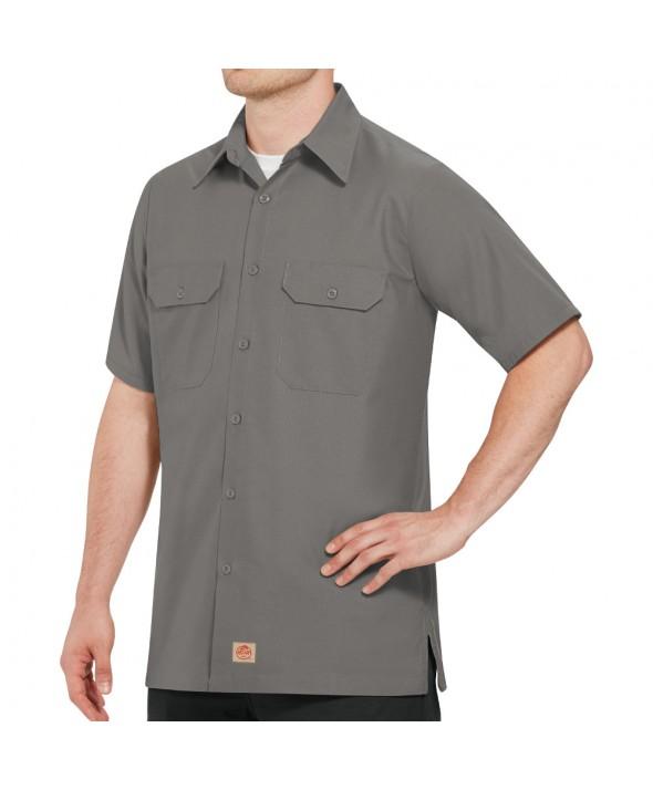 Red Kap SY60GY Mens Solid Rip Stop Shirt - Grey