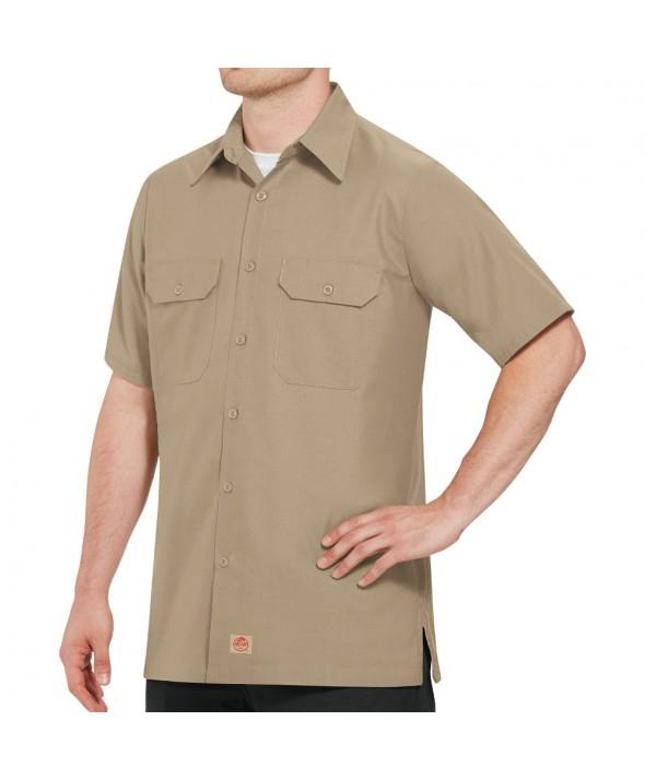 Red Kap SY60KH Mens Solid Rip Stop Shirt - Khaki
