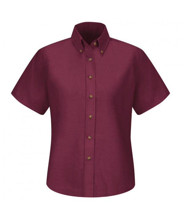 Red Kap SP81BY Womens Poplin Dress Shirt - Burgundy