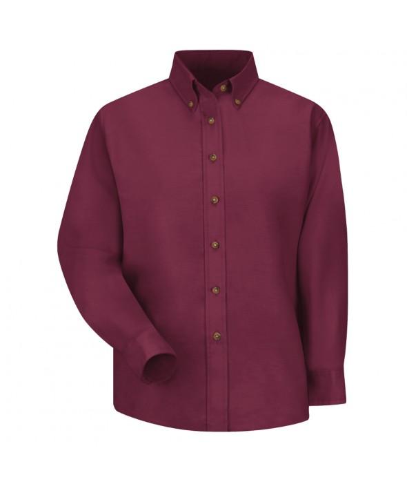 Red Kap SP91BY Womens Poplin Dress Shirt - Burgundy