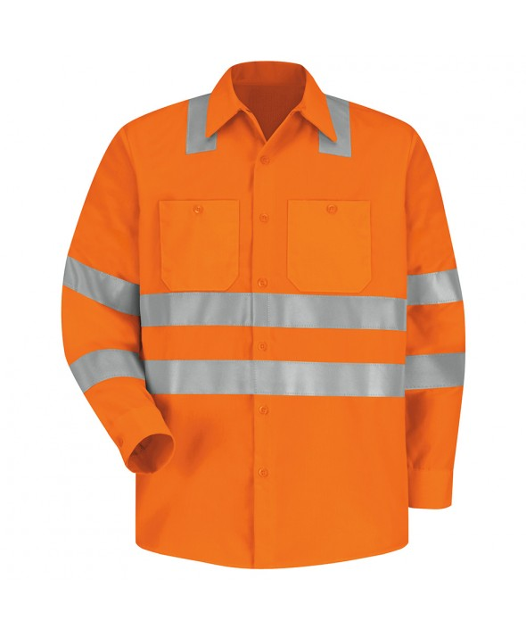 Red Kap SS14OF HiVisibility Work Shirt Class 3 Level 2 - Fluorescent Orange