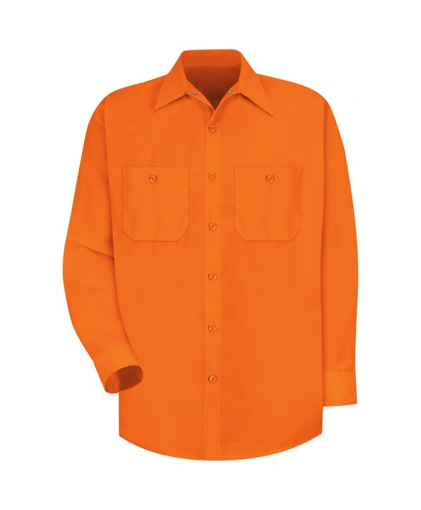 Red Kap SS14OR Enhanced Visibility Work Shirt - Fluorescent Orange