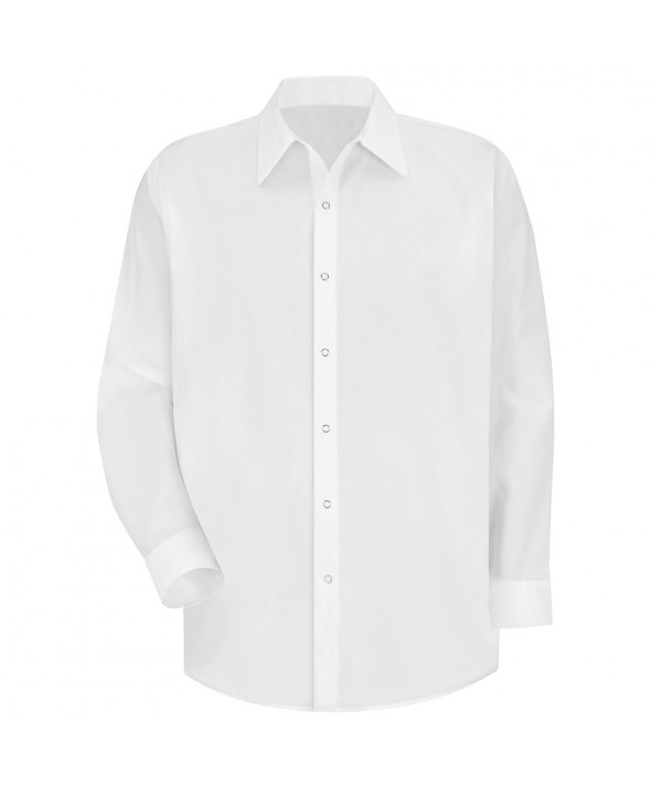 Red Kap SS16WH Mens Specialized Pocketless Polyester Work Shirt - White