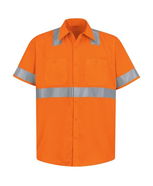 Red Kap SS24O2 HiVisibility Work Shirt Class 2 Level 2 - Fluorescent Orange